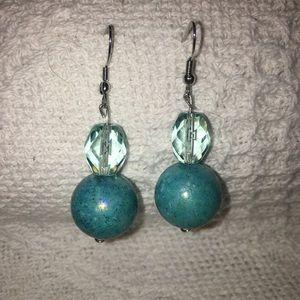 Blue ball & crystal earrings Custom Crafted